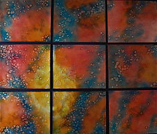 Rain in Nine Panels by Cynthia Miller (Art Glass Wall Sculpture)