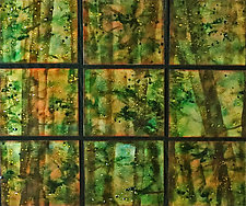 Rainforest in Nine Panels by Cynthia Miller (Art Glass Wall Sculpture)
