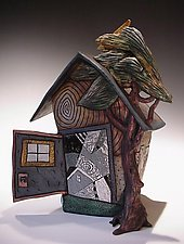 House Form with Tree by David Stabley (Ceramic Sculpture)