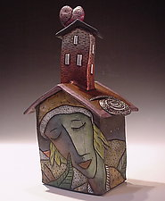 Small House Form with Heart by David Stabley (Ceramic Sculpture)