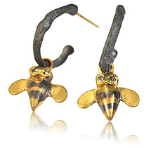 Gold Bee Charm Hoop Earrings by Rebecca  Myers (Gold, Silver & Stone Earrings)