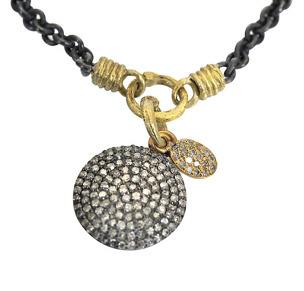 Pave Disc Pendant with Leaf Charm