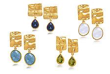 Linen Vermeil Grid Earrings by Diana Widman (Gold & Stone Earrings)