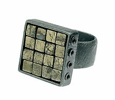 Carved Square Grid Ring by Heather Guidero (Silver & Stone Ring)