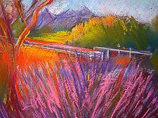 Ojai Lavender Field by Joan Skogsberg Sanders (Pastel Painting)