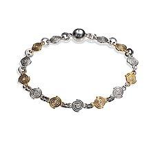 Delicate Spiral Link Bracelet by Martha Seely (Gold, Silver, & Stone Bracelet)