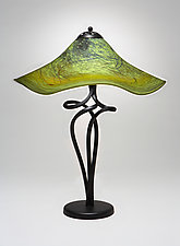 Mossy Green Spiral Lamp by Joel and Candace  Bless (Art Glass Table Lamp)