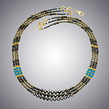 Hematite, Pyrite and London Blue Quartz by Judy Bliss (Gold & Stone Necklace)