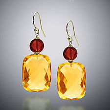 Garnet and Gold Quartz Earrings by Judy Bliss (Gold & Stone Earrings)