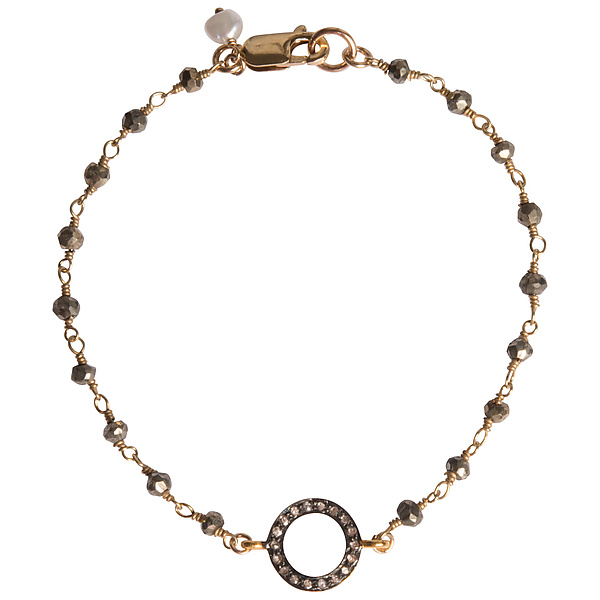 Natasha Single Strand Diamond & Pyrite Bracelet