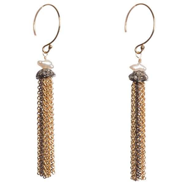 Natasha Black Diamond and Japanese Keshi Pearl Tassel Earrings