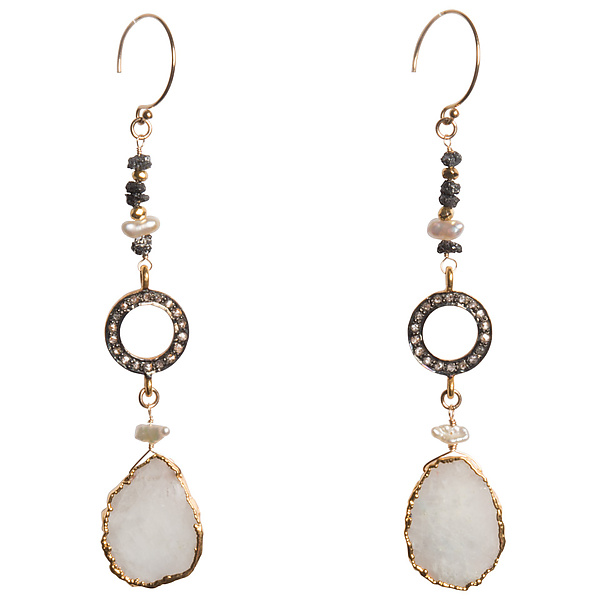 Natasha Black Diamond and Moonstone Slice Statement Earrings