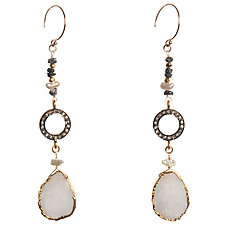 Natasha Black Diamond and Moonstone Slice Statement Earrings by Tracy Arrington (Beaded Earrings)