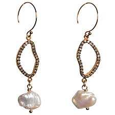 Natasha Organic Shaped Black Diamond & Keshi Pearl Earrings by Tracy Arrington (Gold, Silver, & Stone Earrings)