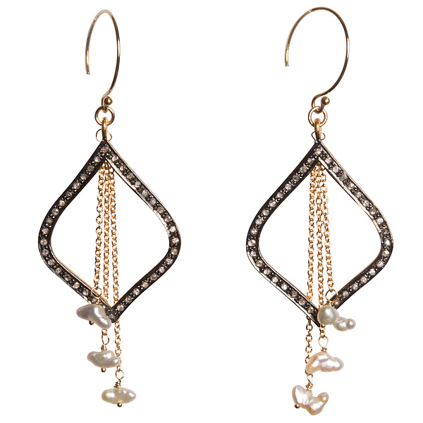 Natasha Black Diamond & Japanese Keshi Pearl Dangle Earrings