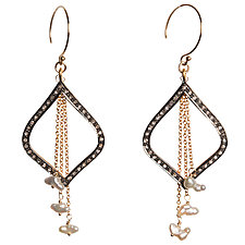 Natasha Black Diamond & Japanese Keshi Pearl Dangle Earrings by Tracy Arrington (Gold, Silver, & Stone Earrings)