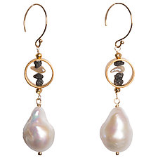Natasha Black Diamond and Baroque Pearl Earrings by Tracy Arrington (Gold, Silver & Pearl Earrings)