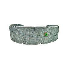 Bedrock Cuff with Tsavorite Garnet by Jenny Reeves (Gold, Silver & Stone Bracelet)