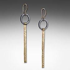 Acid-Etched Stick Earrings by Suzanne Q Evon (Gold & Silver Earrings)