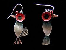 Birds Watching Earrings by Lisa and Scott  Cylinder (Metal Earrings)