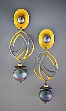 Royalty Earrings by Judith Neugebauer (Gold, Silver & Pearl Earrings)