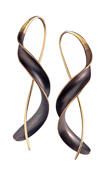 Bronze Ribbon Earrings