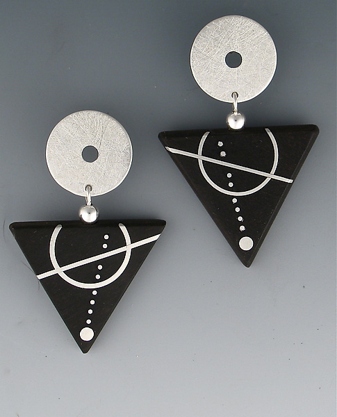 Ebony Triangle, Silver Circle Earrings