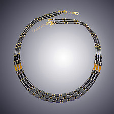 Hematite, Spinel and Gold Quartz by Judy Bliss (Gold & Stone Necklace)