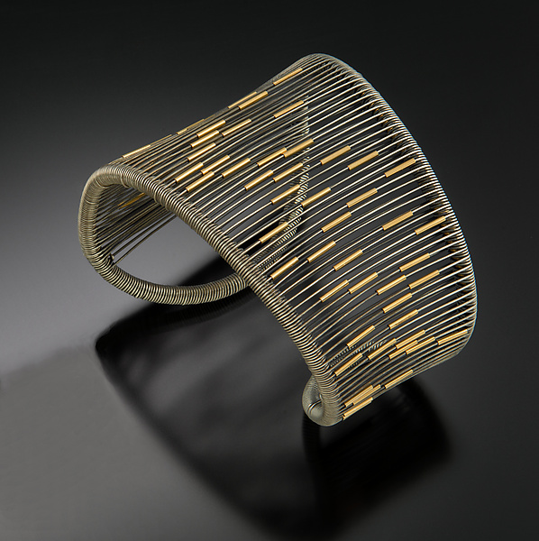 Oxidized Asymmetrical Cuff with Gold Tubes