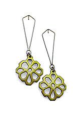 Honeycomb Structure Earrings on Dangling Post by Joanna Nealey (Enameled Earrings)