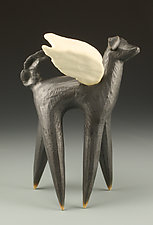 Winged Dog in Black by Cathy Broski (Ceramic Sculpture)