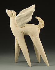 Winged Dog in White by Cathy Broski (Ceramic Sculpture)