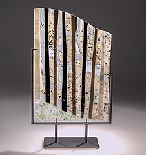 Birch Forest in Winter by Varda Avnisan (Art Glass Sculpture)