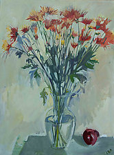 Mums and Apple by Lila Bacon (Acrylic Painting)