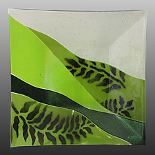Verdant Fern Platter by Alice Benvie Gebhart (Art Glass Platter)