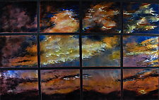 Sunset in 12 Panels by Cynthia Miller (Art Glass Wall Sculpture)