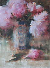 Pink Peonies, Blue Vase by Leslie Dyas (Oil Painting)