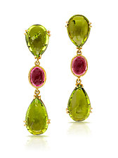 Three-Drop Earrings with Peridot by Pamela Huizenga  (Gold & Stone Earrings)
