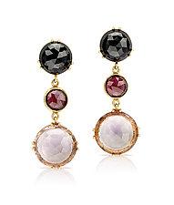 Three-Drop Earrings with Amethyst by Pamela Huizenga  (Gold & Stone Earrings)