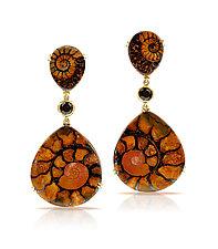 Three-Drop Earrings with Ammonite by Pamela Huizenga  (Gold & Stone Earrings)