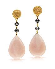 Three-Drop Earrings with Pink Opal and Black Diamonds by Pamela Huizenga  (Gold & Stone Earrings)