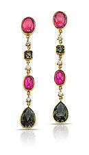 Four-Drop Earrings with Tourmaline by Pamela Huizenga  (Gold & Stone Earrings)
