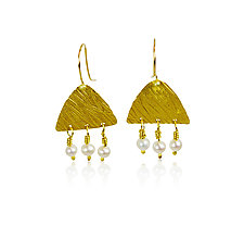 Golden Wheat Earrings by Nancy Troske (Gold & Pearl Earrings)