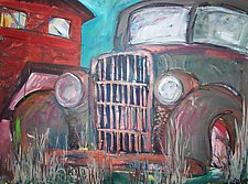 Old Gray Car by Elisa Root (Oil Painting)