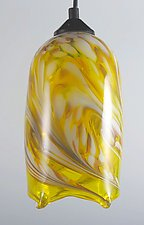 Yellow Flame Pendant Light by Mark Rosenbaum (Art Glass Pendant Lamp)