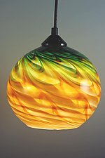 Gold and Green Optic Globe Pendant by Mark Rosenbaum (Art Glass Pendant Lamp)