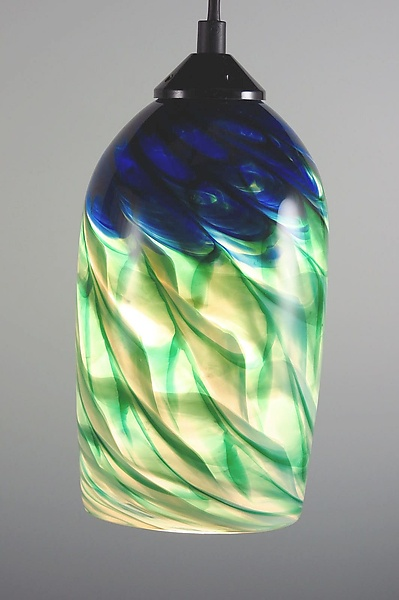 Blue and Green Optic Cylinder Pendant