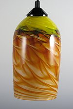 Amber and Yellow Optic Cylinder Pendant by Mark Rosenbaum (Art Glass Pendant Lamp)