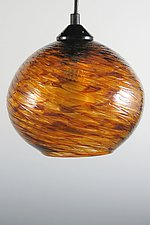Tortoise Shell Clear Optic Globe Pendant by Mark Rosenbaum (Art Glass Pendant Lamp)