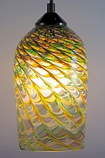 Mardi Gras Clear Optic Pendant Cylinder by Mark Rosenbaum (Art Glass Pendant Lamp)